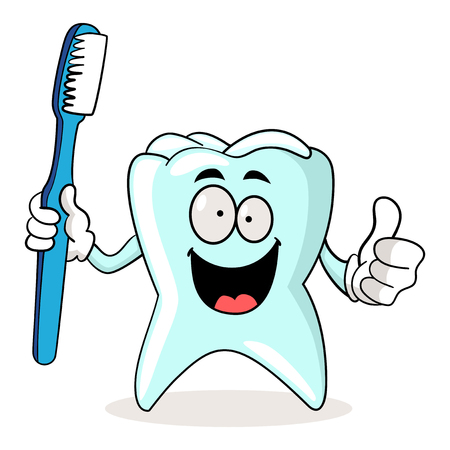 kiddies: Cartoon illustration of a tooth holding a tooth brush Illustration