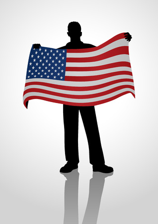 jubilant: Silhouette illustration of a male figure holding the flag of USA