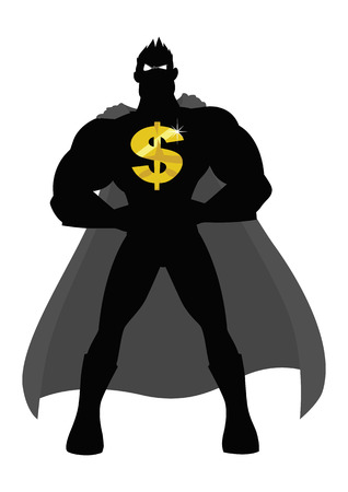 cape: Silhouette illustration of a superhero with golden dollar symbol