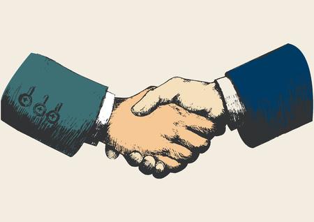dando la mano: Ilustración Boceto de estrechar la mano