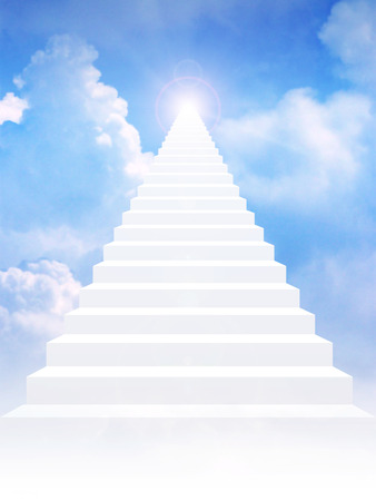leading light: Stairway leading up to bright light above the sky