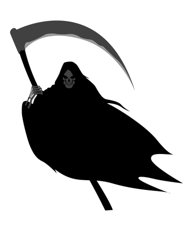 angel of death: Illustration of grim reaper on white background Illustration