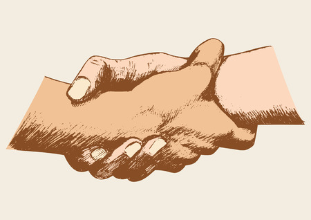 other: Sketch illustration of two hands holding each other strongly