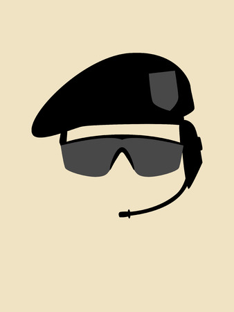 armed force: Simple graphic of a man with beret and goggle Illustration
