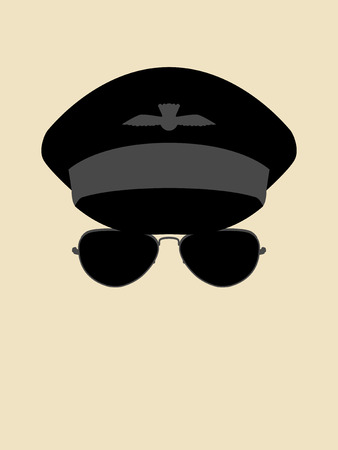 Simple graphic of a man wearing pilot cap and sunglasses Illustration