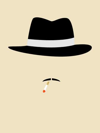 sicario: Gr�fico simple de un hombre con sombrero de �poca fumar cigarrillos Vectores