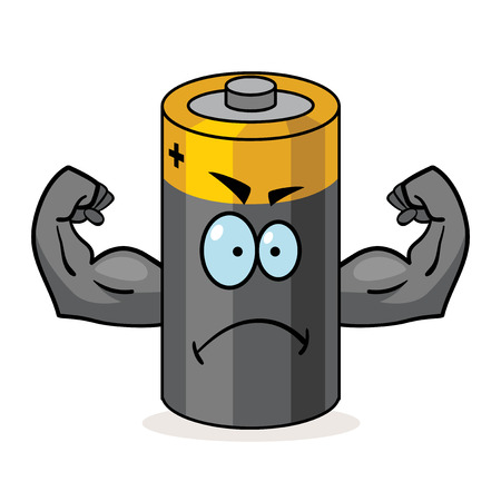 durable: Cartoon character of a battery with muscular arms
