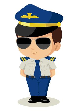 piloto: Ilustración de dibujos animados lindo de un piloto Vectores