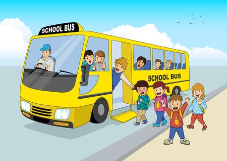 Ilustración de la historieta de los niños de la escuela a bordo de un autobús escolar Vectores