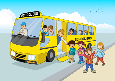 estudiar: Ilustración de la historieta de los niños de la escuela a bordo de un autobús escolar Vectores