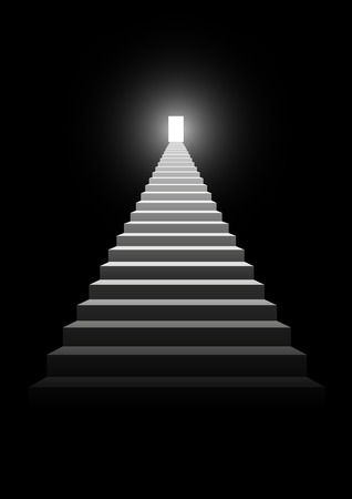 Illustration of a stairway leading up to a bright door