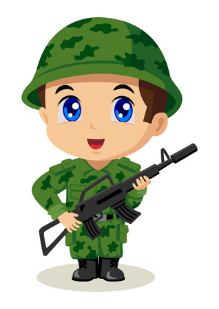 kiddies: Cute cartoon illustration of a soldier
