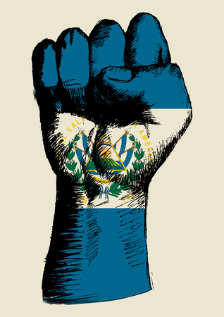 el salvador: Sketch illustration of a fist with El Salvador insignia Illustration