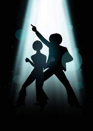 seventies: Silhouette Illustration of couple disco dancing under the light