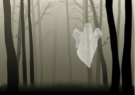 spooky: A ghost in the creepy woods, for Halloween theme