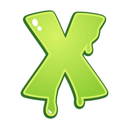 liquid x: Slimy font type letter X