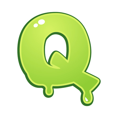 slimy: Slimy font type letter Q