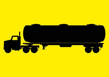 tank: Silhouette of a heavy truck with big tank
