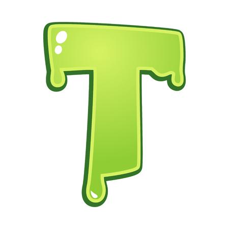 toxic: Slimy font type letter T Illustration