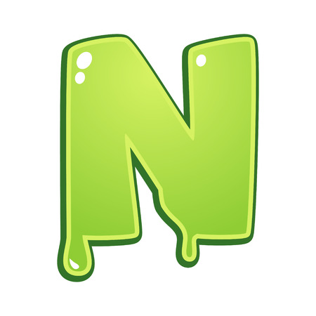 Slimy font type letter N