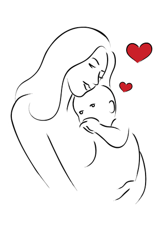 warmly: Simple line art of a mother holding her baby
