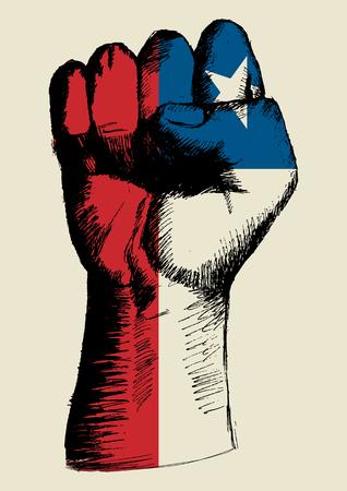 bandera chilena: Ilustración Boceto de un puño con Chile insignia Vectores