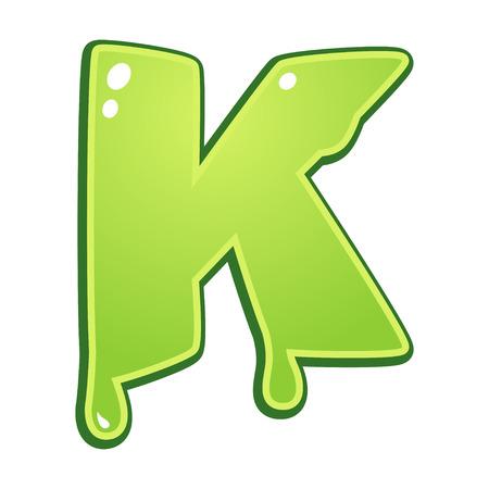 alphabet letter: Slimy font type letter K