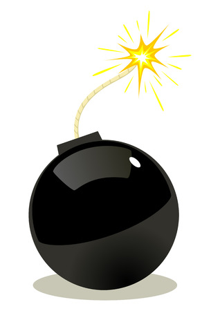 cartoon bomb: Cartoon illustration of a bomb