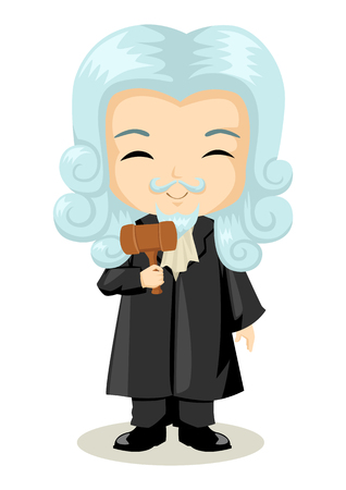occupations: Cute cartoon illustration of a judge