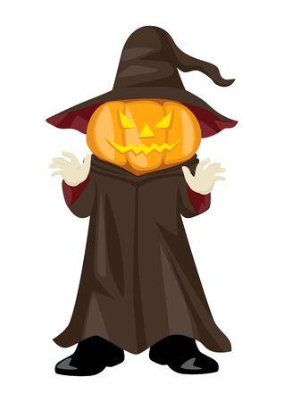 humour: Halloween pumpkin, funny cartoon illustration of Jack OLantern for Halloween theme Illustration