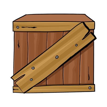 container box: Cartoon illustration of a wooden box
