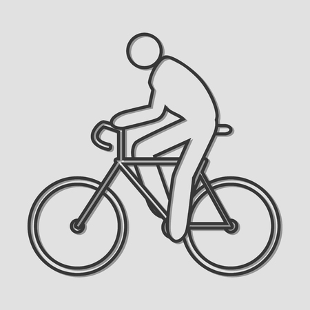 bicycling: Simple line art of a person riding bicycle