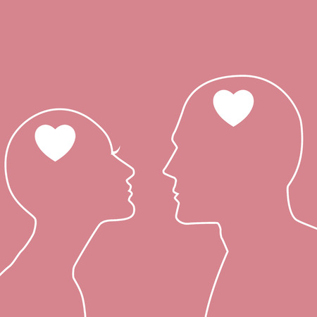 relationships: Simple graphic of a male and female figure with heart symbol in their head