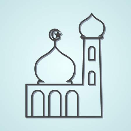 place of worship: Line art illustration of a mosque