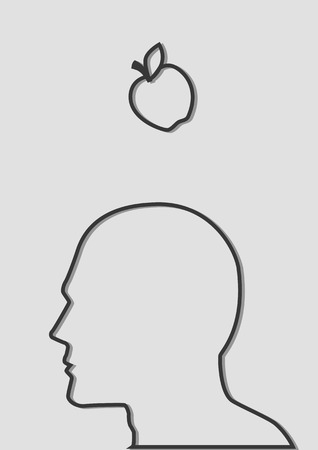 isaac newton: Simple line art  of an apple falling to the head