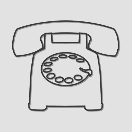 vintage telephone: Line art of a vintage telephone