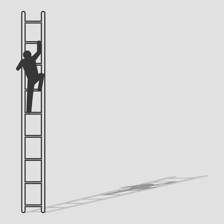 Simple graphic of a man figure climbing the ladder Vectores