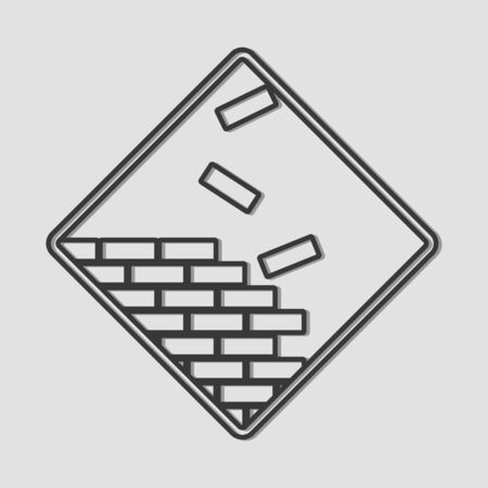 under construction symbol: Line art of bricks, under construction symbol