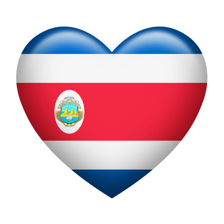 costa rica flag: Heart shape of Costa Rica flag isolated on white