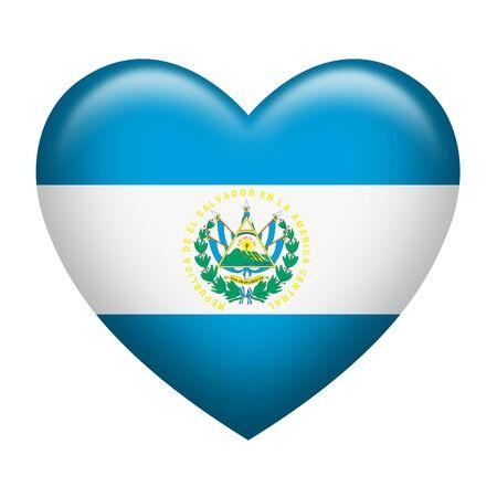bandera de el salvador: La forma del corazón de la bandera de El Salvador aislado en blanco