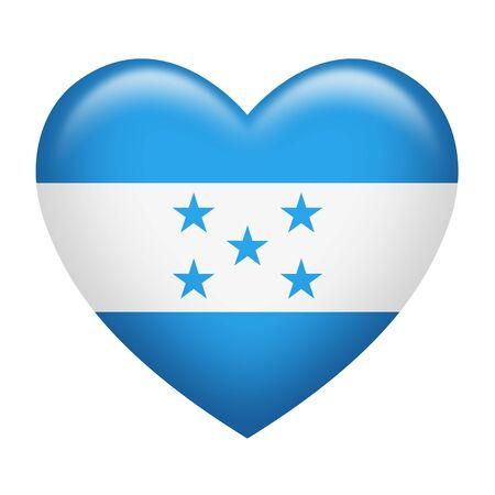 bandera honduras: La forma del corazón de la bandera de Honduras aislado en blanco