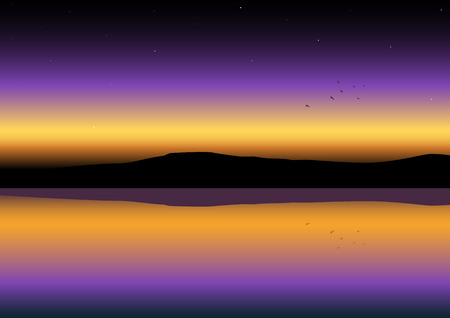 horizon reflection: Panoramic view of sunset Illustration