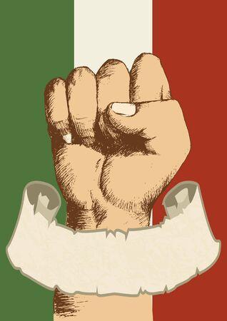 schriftrolle: Italien Abzeichen mit der Faust Skizze und leere Scroll-Banner