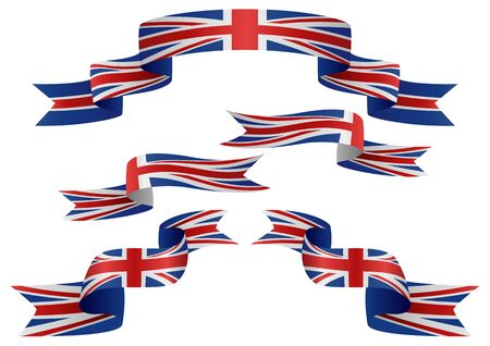 Set of United Kingdom insignia in different shape of ribbons Illustration