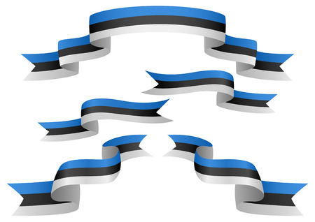 estonia: Set of Estonia insignia in different shape of ribbons Illustration