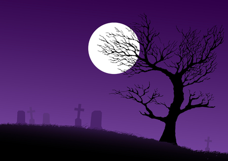 spooky tree: Silhouette of a dried spooky tree on cemetery ground