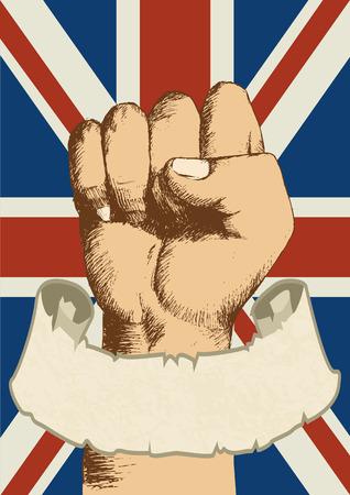 la union hace la fuerza: United Kingdom insignia with fist sketch and empty scroll banner Vectores