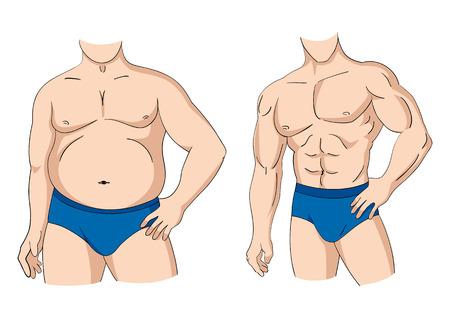 Ilustración de una figura de hombre de grasa y muscular