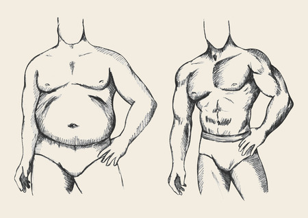 perfect fit: Sketch illustration of a fat and muscular man figure Illustration