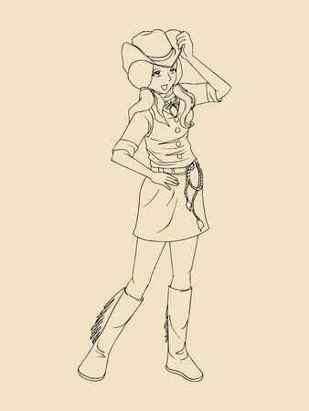 cowgirl boots: Line art of a cowgirl